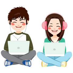 Teenagers sitting on floor with headphones and laptop