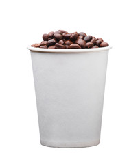 cardboard disposable cup with coffee isolated on white background