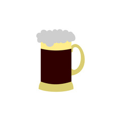 Mug of beer icon in flat style isolated on white background