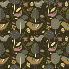 Beautiful floral illustrations forest design elements seamless pattern. retro style background