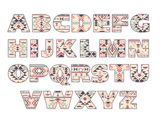 Vector set of ornate capital letters with abstract ethnic patterns.