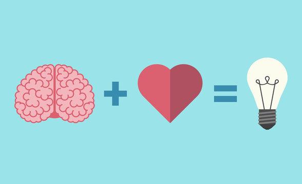 Brain, heart and lightbulb