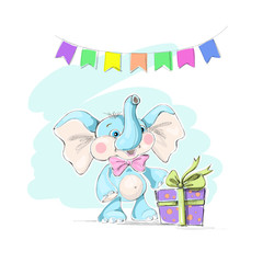 Cute and funny baby elephant, a box with a gift and a garland of flags