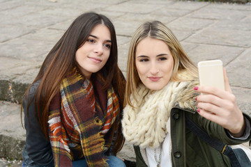 Two young girlfriends taking selfie with smartphone.