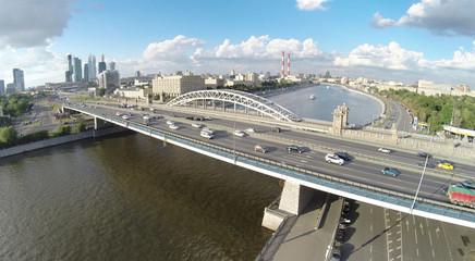 Berezhkovskii bridge and railway Krasnoluzhsky bridge over the Moscow river, aerial view
