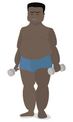 American , African fat man holding a dumbbell in hands