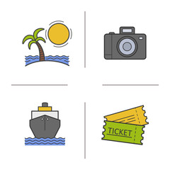 Travel color icons set