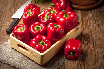 Fresh red sweet peppers. Fototapete