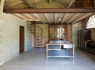 kitchen in a rustic loft