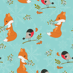 Winter cartoon forest animals seamless background