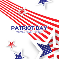 Origami Patriot Dayon white background with stars and stripes. Abstract american flag. We will never forget. September 11, 2001. Vector illustration. Poster Template.