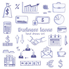 Set of doodle sketch business icons