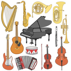 Hand drawn doodle, sketch musical instruments. Vector icons set