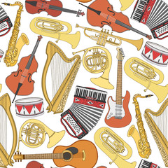 Hand drawn doodle, sketch musical instruments seamless pattern