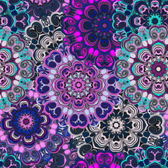 Violet colored seamless pattern with eastern floral ornament. Floral oriental design in aztec, turkish, pakistan, indian, chinese, japanese style. Wrapping paper or front-side, vector art.