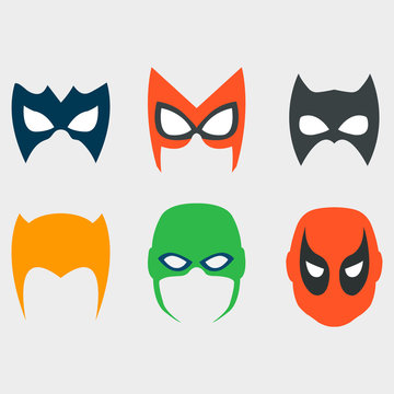A set of masks for movies, superheroes, with shadow