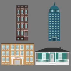 Vector City Buildings background image design for illustration, postcards, posters, labels, signs and other advertisement and design needs.