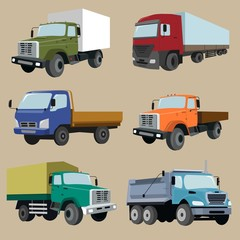 Industrial different types of vector vehicles image design set for your illustration, decoration, labels, stickers and other creative needs.