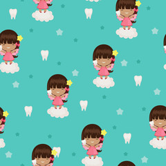 Tooth fairy blue seamless wallpaper