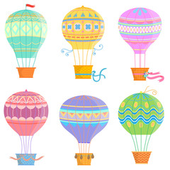 Set of colorful hot air balloon .Vector illustrations isolated on white background.