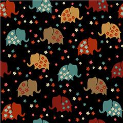 Seamless pattern with elephants. Coloured elephants on a black background. Cute elephants.