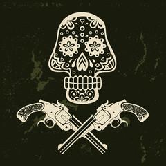 Hand drawn skull with guns