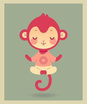 Cartoon flat monkey in yoga pose. Cute baby animal toy. Vector illustration.