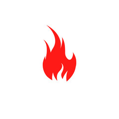 Isolated red color flame on the white background vector logo. Fire spurts logotype.Heat icon. Fireplace symbol. Bonfire illustration. Spicy food sign. Danger warning.