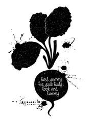 Illustration Of Isolated Black Radish Silhouette.