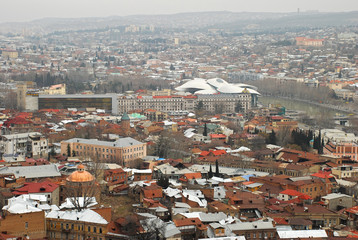 Tbilisi panorama view from the top of the hill, Georgia