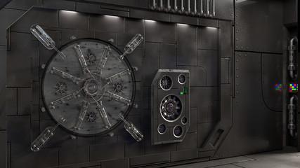 Sci Fi Hatch - Dark A sci fi inspired hatch in side a large, dark space station.