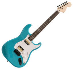 Blue Electric Guitar Isolated on White Background
