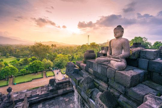 Buddha statue in Borobudur, Buddist Temple in Yogyakarta, Indone