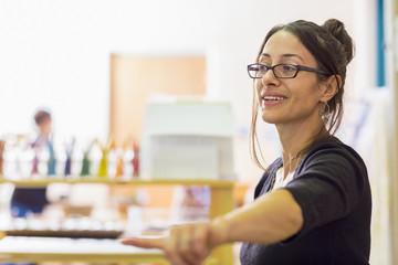 Teacher gesturing in classroom