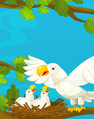 Foto auf Leinwand Dinosaurier Cartoon happy and funny nature scene - with eagles - illustration for children