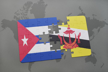puzzle with the national flag of cuba and brunei on a world map background.