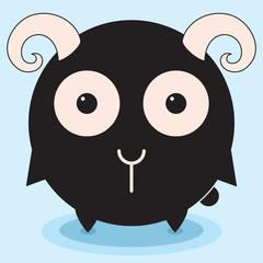 Round funny lamb, ram kitten, minimalistic picture, illustration for children, vector art