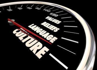 Culture Language Beliefs Values Diversity Speedometer 3d Illustr