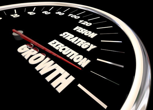 Growth Vision Strategy Execution Speedometer 3d Animation
