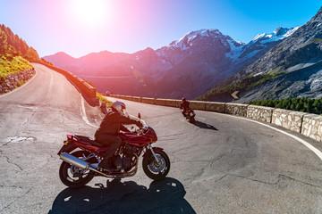 Sunset above motorbike on Passo Stelvio Wall mural