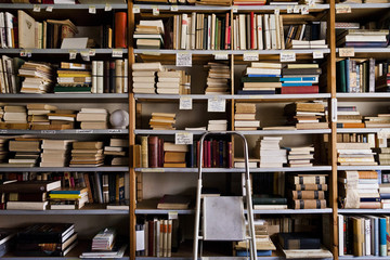 Stepladder by bookshelves in library