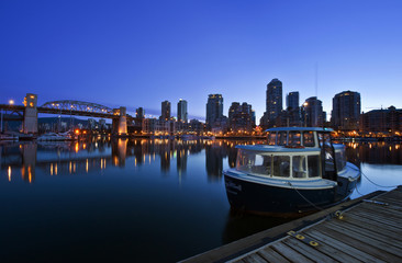 The Vancouver skyline at twilight