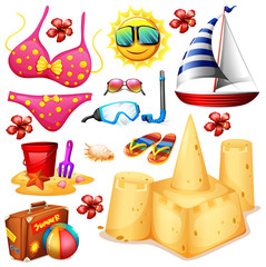 Summer set with bikini and sandcastle