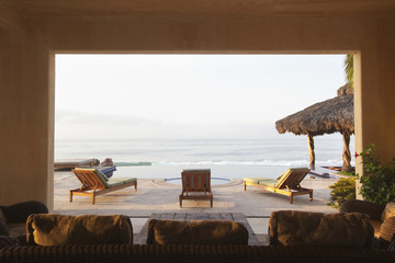 Ocean and elegant home patio