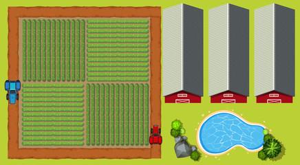 Aerial scene with farmland and barns
