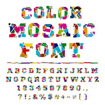 Broken colored font on a light background. Colored font from the broken into fragments letters. Crash  alphabet on a light background. Broken letters. Decorative alphabet. Stencil type. Full set.
