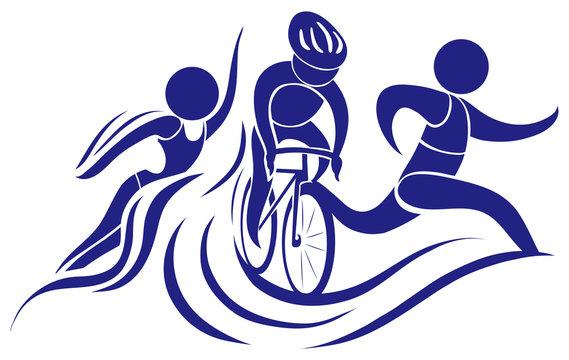 Sport icon for triathlon in blue color