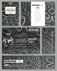 Set of business templates for presentation, brochure, flyer or booklet. Polygonal backdrop with golden connecting dots and lines, connection structure. Digital scientific background