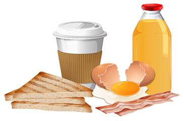 Breakfast set with break and juice