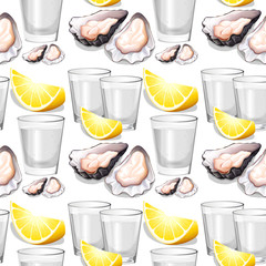 Seamless background with oysters and lemons